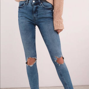 Free People High Waist Busted Knees Skinny Jeans